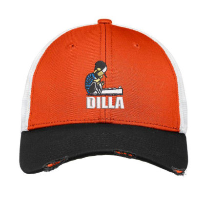 Dilla Embroidered Hat Vintage Mesh Cap Designed By Madhatter