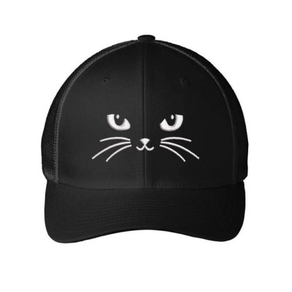 Black Cat Embroidered Hat Embroidered Mesh Cap Designed By Madhatter