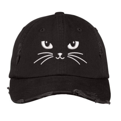 Black Cat Embroidered Hat Distressed Cap Designed By Madhatter