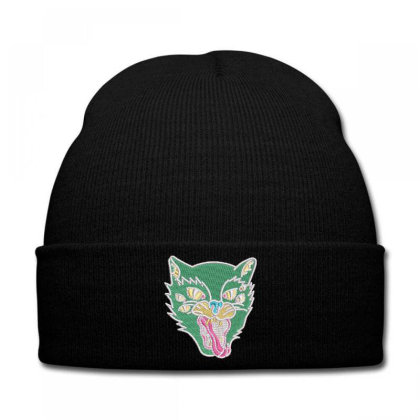 Fox Embroidered Hat Knit Cap Designed By Madhatter