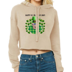Happy St. Patrick's Day Pitbull For Light Cropped Hoodie Designed By Neset