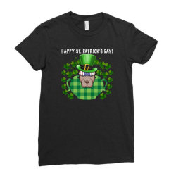 Happy St. Patrick's Day Pitbull For Dark Ladies Fitted T-shirt Designed By Neset