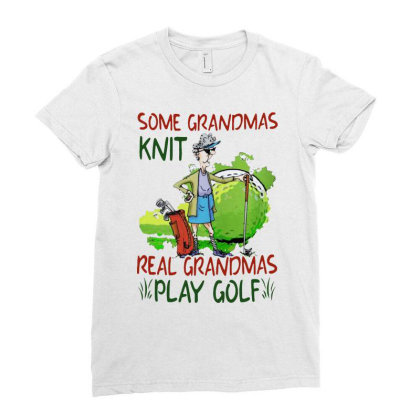 Grandmas Play Golf Ladies Fitted T-shirt Designed By Just4you