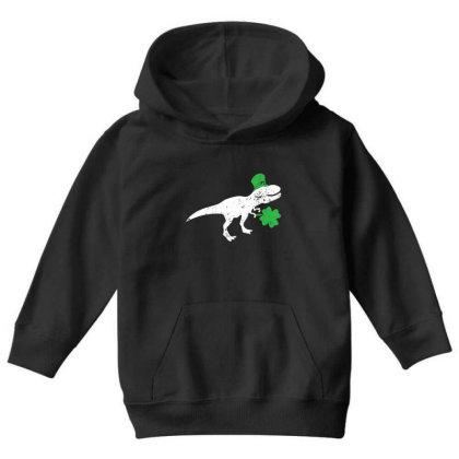 Dinosaur St Patricks Day Shamrock T Shirt For Youth Youth Hoodie