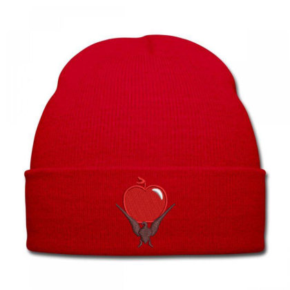 Red Apple Embroidered Hat Knit Cap Designed By Madhatter