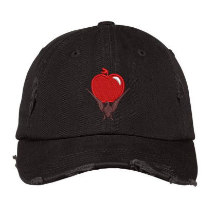 Red Apple Embroidered Hat Distressed Cap Designed By Madhatter