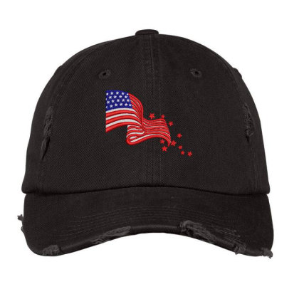 America Flag Embroidered Hat Distressed Cap Designed By Madhatter