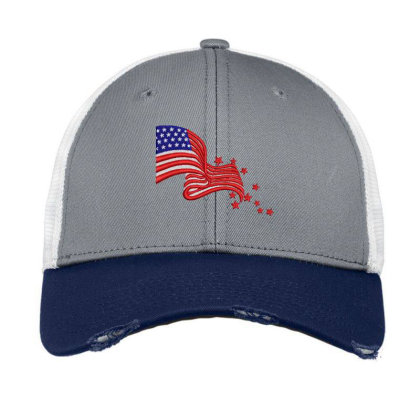 America Flag Embroidered Hat Vintage Mesh Cap Designed By Madhatter