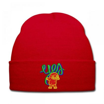 Yes Or Eyes Embroidered Hat Knit Cap Designed By Madhatter