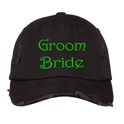 Groom Bride Embroidered Hat Distressed Cap Designed By Madhatter