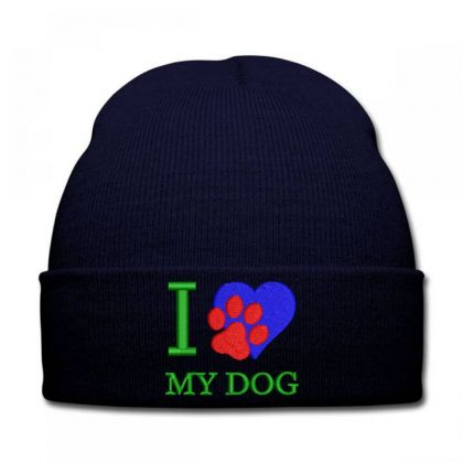 I Love My Dog Embroidered Hat Knit Cap Designed By Madhatter