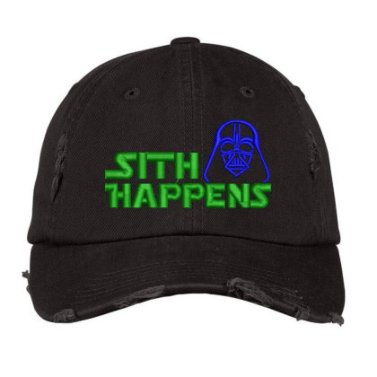 Sith Happens Embroidered Hat Distressed Cap Designed By Madhatter