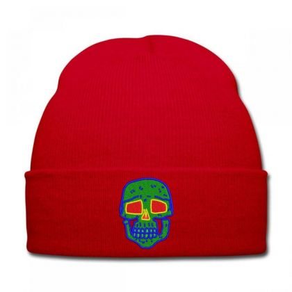 Skull Embroidered Hat Knit Cap Designed By Madhatter