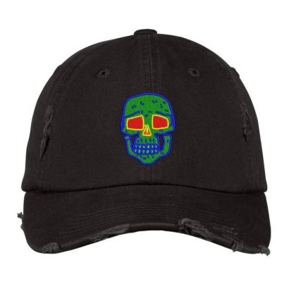 Skull Embroidered Hat Distressed Cap Designed By Madhatter