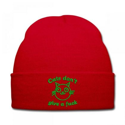 Cats Don't Give A Fuck Embroidered Hat Knit Cap Designed By Madhatter