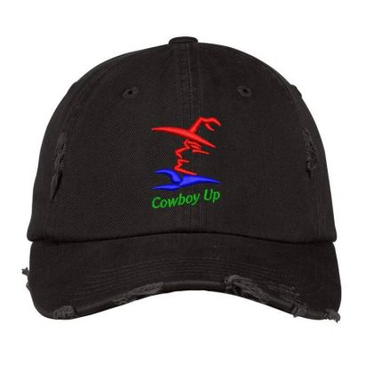 Cowboy Embroidered Hat Distressed Cap Designed By Madhatter