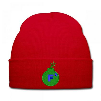 F * Embroidered Hat Knit Cap Designed By Madhatter