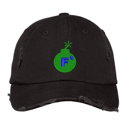 F * Embroidered Hat Distressed Cap Designed By Madhatter