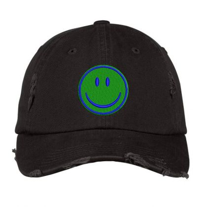 Smiley Face Embroidered Hat Distressed Cap Designed By Madhatter