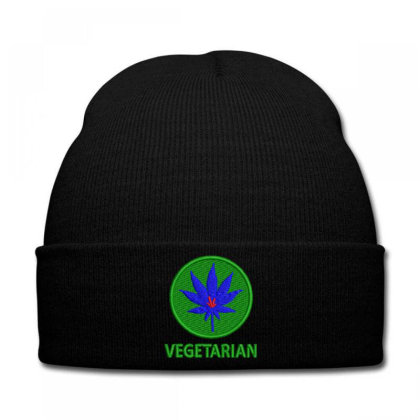 Vegetarian Embroidered Hat Knit Cap Designed By Madhatter