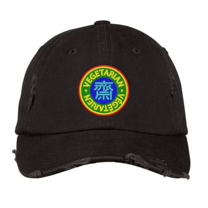 Vegetarian Embroidered Hat Distressed Cap Designed By Madhatter