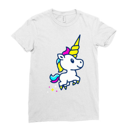 Unicorn Foal Ladies Fitted T-shirt Designed By Alaska Tees