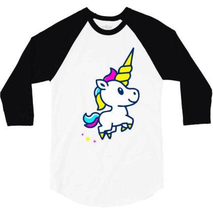 Unicorn Foal 3/4 Sleeve Shirt Designed By Alaska Tees