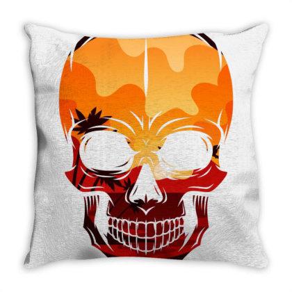 Summer Skull Throw Pillow Designed By Cloudystars