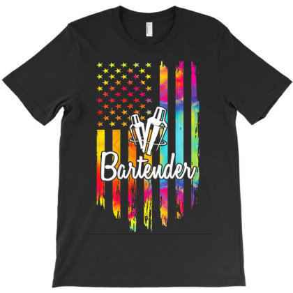 Bartender Flag American T-shirt Designed By Kakashop