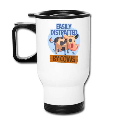 Easily Distracted By Cows Funny Farm Animal Travel Mug Designed By Hoainv