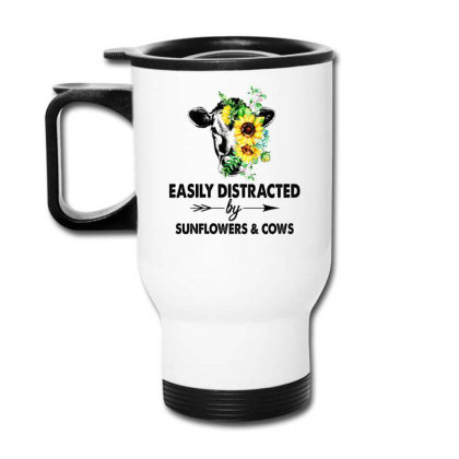 Easily Distracted By Sunflower And Cows Travel Mug Designed By Hoainv