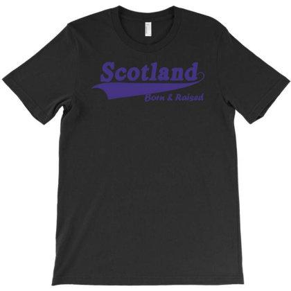 Scotland Born And Raised Retro White & Navy International Country T-shirt Designed By Fanshirt