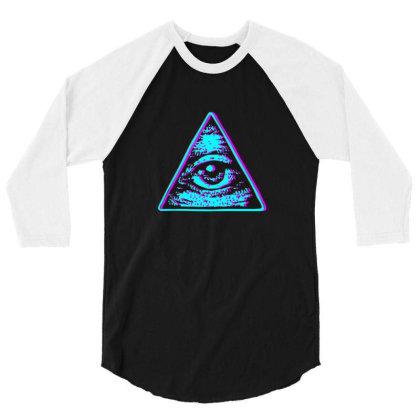 Retro Illuminati Eye 3/4 Sleeve Shirt Designed By Sr88