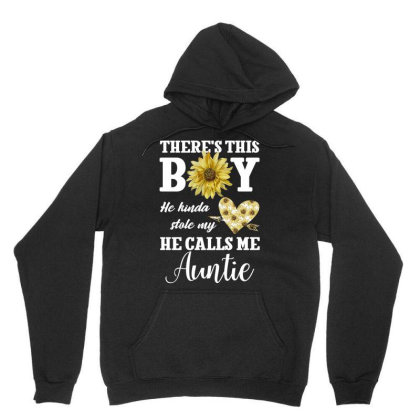 There's This Boy He Kinda Stole My He Calls Me Auntie For Dark Unisex Hoodie Designed By Gurkan