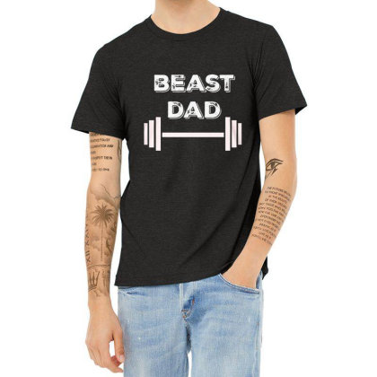 Gym Beast Dad Heather T-shirt Designed By Hoainv