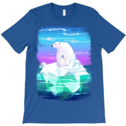 Polar Bear Mom And Baby On Iceberg T-shirt Designed By Thechameleonart