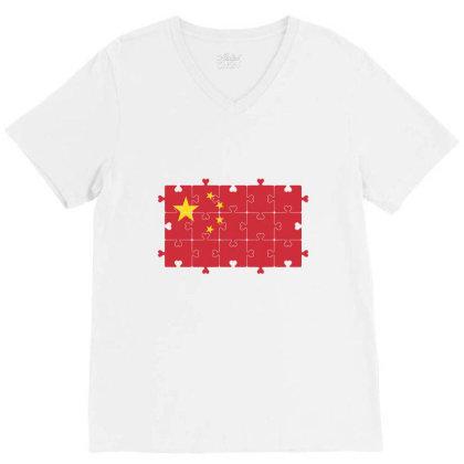 Flag Of China. Grunge Chinese Flag V-neck Tee Designed By Alamy