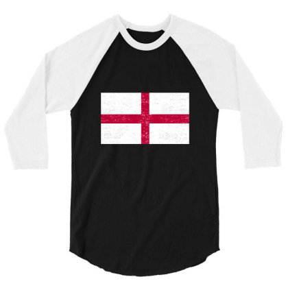 England Flag , St George's Cross Flag 3/4 Sleeve Shirt Designed By Alamy