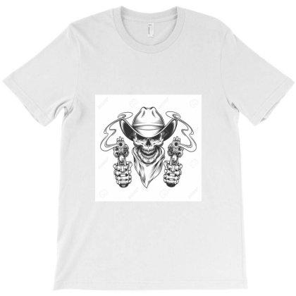 115207329 Vintage Cowboy Skull In Neck Scarf And Skeleton Hands Holdin T-shirt Designed By Linda