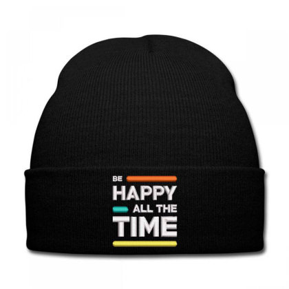 Be Happy Time Embroidered Hat Knit Cap Designed By Madhatter
