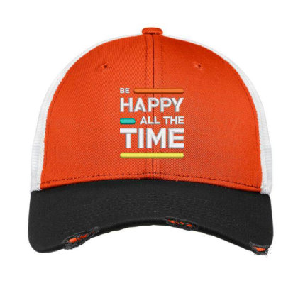 Be Happy Time Embroidered Hat Vintage Mesh Cap Designed By Madhatter