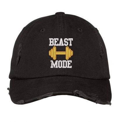 Beast Mood Embroidered Hat Distressed Cap Designed By Madhatter