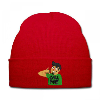 Call Me Embroidered Hat Knit Cap Designed By Madhatter