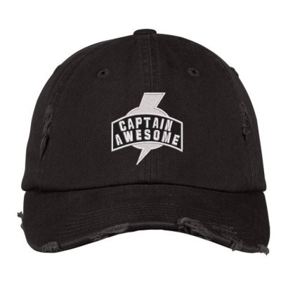 Captian Awesome Embroidered Hat Distressed Cap Designed By Madhatter