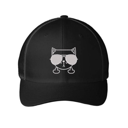 Cat Embroidered Hat Embroidered Mesh Cap Designed By Madhatter