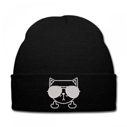 Cat Embroidered Hat Knit Cap Designed By Madhatter
