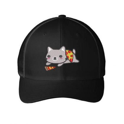 Cat With Pizza Embroidered Hat Embroidered Mesh Cap Designed By Madhatter