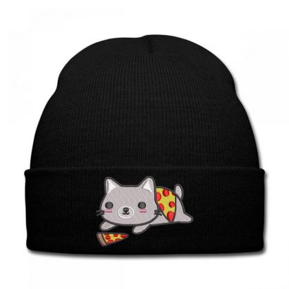 Cat With Pizza Embroidered Hat Knit Cap Designed By Madhatter