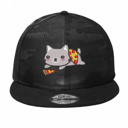 Cat With Pizza Embroidered Hat Camo Snapback Designed By Madhatter