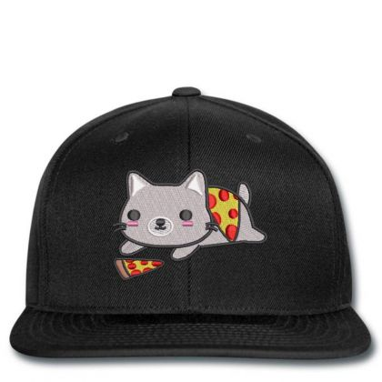 Cat With Pizza Embroidered Hat Snapback Designed By Madhatter